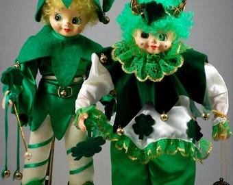 ON SALE NOW Pair Of Brinn Dolls St Patricks Day Elf And Shamrock Elf With Tags