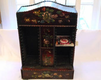 Burgundy Tole Painted CD Cabinet With Storage