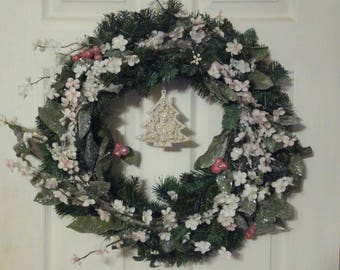 Clearance | Christmas Wreath | Winter Wreath | Christmas Decor | Holly Berries | Pine | Yule | Ornament |