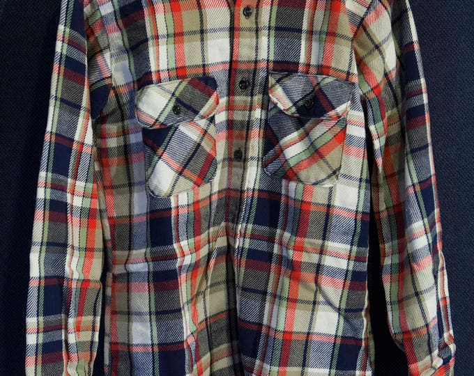 Vintage Big Mac Flannel Blue Green Red Plaid Made in USA Size Medium
