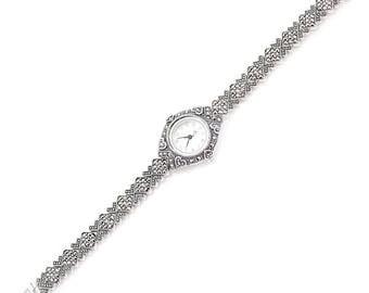 925 Sterling Silver, Marcasite Watch, Weighs 35,1 gram