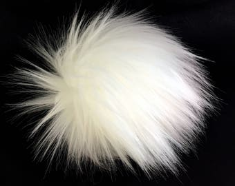 Faux Fur Poms in Snowball- Three sizes