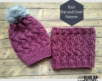 Manitou Hat and Cowl Pattern, Knit Pattern, Super Chunky Knit
