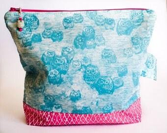 Large Knitting Bag- Katarina Roccella's Wonderland Owls  (free shipping!)