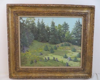 Antique Oil Painting Listed American Artist Helen Dumond Spring Green Landscape