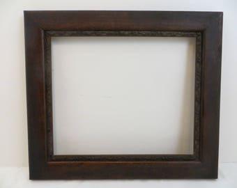 Antique Dark Wood Frame 10 x 12 Vintage 1900 Inner Edge Detail