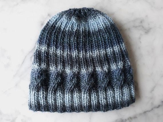 Striped knit beanie: handknit hat in original design, knit in pure wool. Made in Ireland. Aran cable hat. Men's beanie. Women's beanie hat.