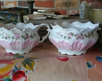 Antique Vintage Cream & Sugar Set Very Sweet EARLY 20th Cent Porcelain Perfect Condition