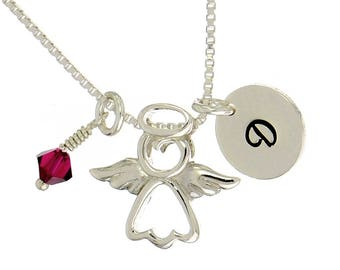 Guardian Angel Sterling Silver Personalized Pendant W Swarovski Birthstone Crystal Initial Custom Letter Disc Necklace Box Chain