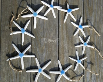 Starfish with Blue Faux Sea Glass Ornament Set, Unique Gift Tags, Coastal Christmas, Beach Christmas, Beach Wedding