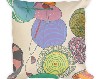 Art Deco Style Umbrellas and Stylish Woman Square Pillow Cushion 18x18in