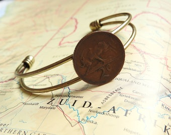 South Africa coin cuff bracelet - 3 different designs - made of original coins - birds - antilope - Africa - travellers gift