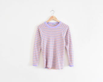 80s FLEECE STRIPED SHIRT || size womens small || 1980s || top long sleeve || warm || fuzzy || cozy || pastels || bright || vintage!