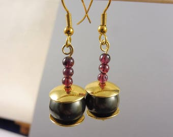 "Garnet and Shell Pearl Earrings - ""Empress' Gift"""