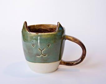 Cat Mug, Green with brown