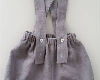 Bloomer with adjustable straps gray linen