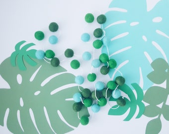 Jungle fever Feltball Garland - Green & Turquoise Garland - Pompom garland - Nursery Decor - Baby Shower - First Birthday - Party Decor