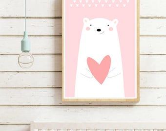 Nursery Wall Art Print, Kids Art Print, Digital Animal Nursery Print, Printable Nursery Poster, Bear poster, Kids room,Instant download