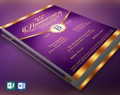 Purple Gold Anniversary Gala Flyer Publisher Word Template