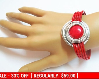 Red Bracelet, Red Silver Jewelry, Leather And Silver Jewelry, Statement Bracelet, Silver Wire Bracelet, Red Stone Bracelet,  Red Jewelry,