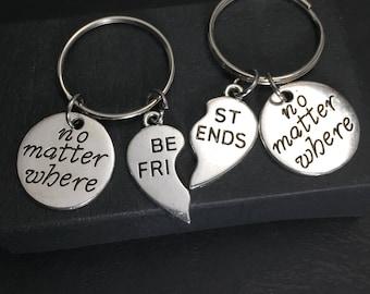 Two - 2 Friends, Distance Friendship Gift, Custom Best Friend Keychains - set of 2,charm, no matter where,friendship jewelry, best friend 2