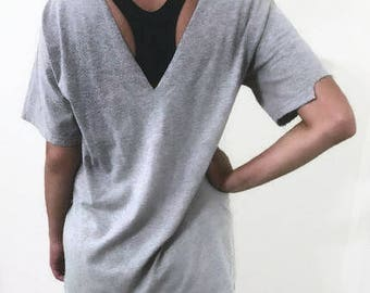Cut Out Grey T-Shirt  had been distressed by hand Choker V in the back