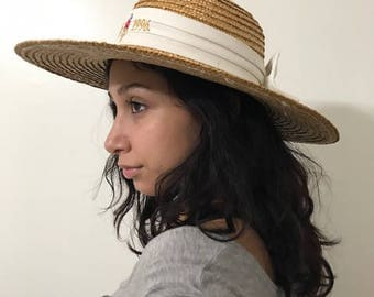1996 Atlanta Olympics  women's Straw Hat Casual hat Sun Hat Vintage  decorated with White Ribbon and Embroidered  letters