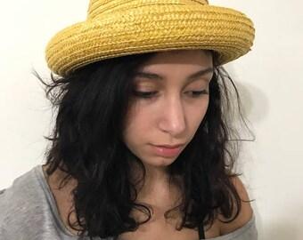 Vintage  Straw Hat Spring Straw Hat Summer Hat Rolled Brim