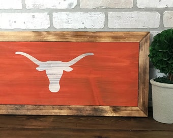 Texas longhorns painted wood sign