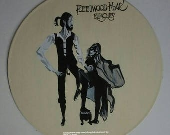 fleetwood mac rumours hand painted record, fan art, wall decor, gifts for any occasion