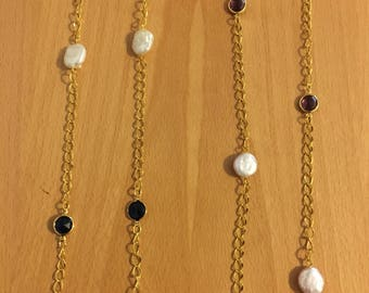 Pearl and Gem Stone Chain Necklace - 2 Colors Available