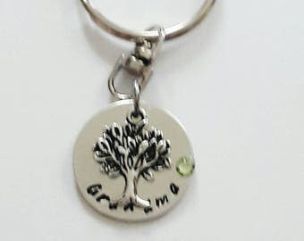 Grandmother keyring// Pewter hand stamped keyring with tree of life //Gift for Grandma //