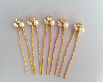 Bridal hair pins, bridesmaid hair pins, crystal hair pins, gold hair pins, pearl hair pins