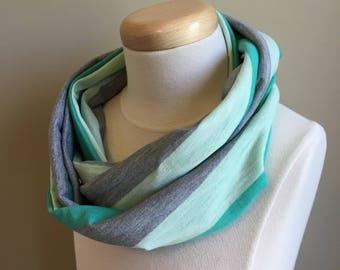 Green Stripe Infinity Scarf - kids scarf, girls scarf, toddler scarf, stripe scarf