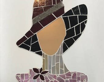 Mosaic Red Hat Lady Mirror - Home Decor