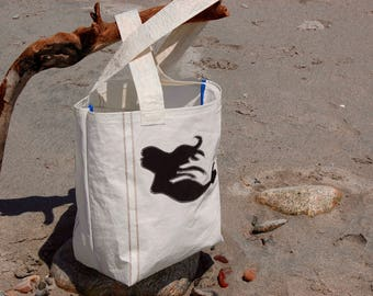 Black Mermaid - Small Recycled Sail Bag - Every Day Tote