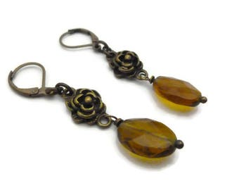 Earrings 'Cute' topaz / bronze