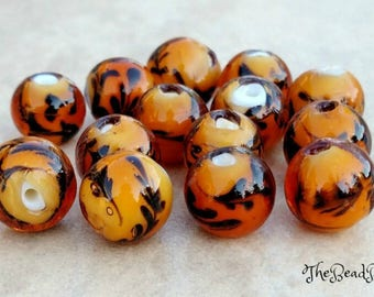 Lampwork glass beads, Round glass bead lot, 15pcs, 16mm, Brown & Black beads, Tiger beads, Murano beads, Decorative beads,Jewelry making lot