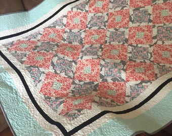 Modern twin size quilt, girls quilt, girls bedding