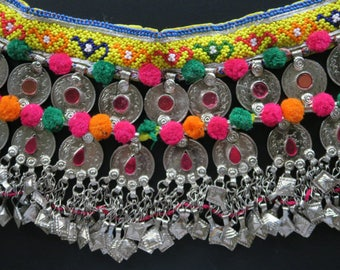 VINTAGE KUCHI BELT with Double-Row of Ornate OldCoins and Charm-Dangles