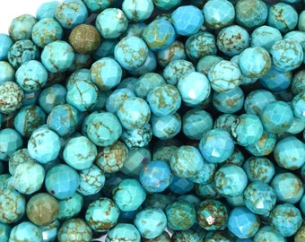 """6mm faceted green turquoise round beads 15.5"""" strand S2 37231"""