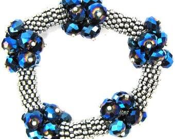"Crystal silver plated daisy stretch bracelet 7"" blue 11842"
