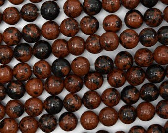 "6mm brown mahogany obsidian round beads 15"" strand 38680"