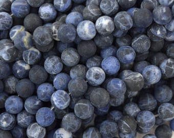 "8mm matte blue sodalite round beads 15.5"" strand 38050"