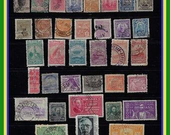 Vintage Brazil Stamps Group - 73 Different - Mostly Older