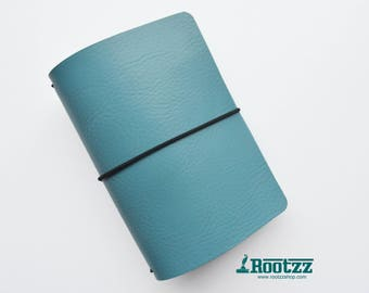 A6 Traveler's notebook Blue leather - midori like- fauxdori