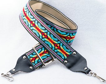 """Blue, Red, and Yellow Brightly Colored Camera Strap, Heavy-duty, 48"""" Long X 2"""" Wide, for Canon, Nikon, Pentax, Sony, and Others"""