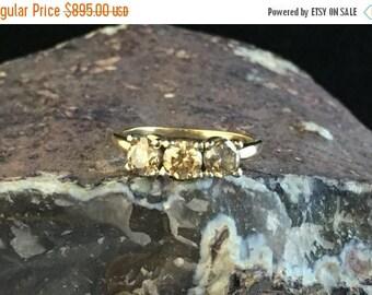 FLASH SALE 1.5 Carat + & 14k Champagne Diamond Ring 3 Stones