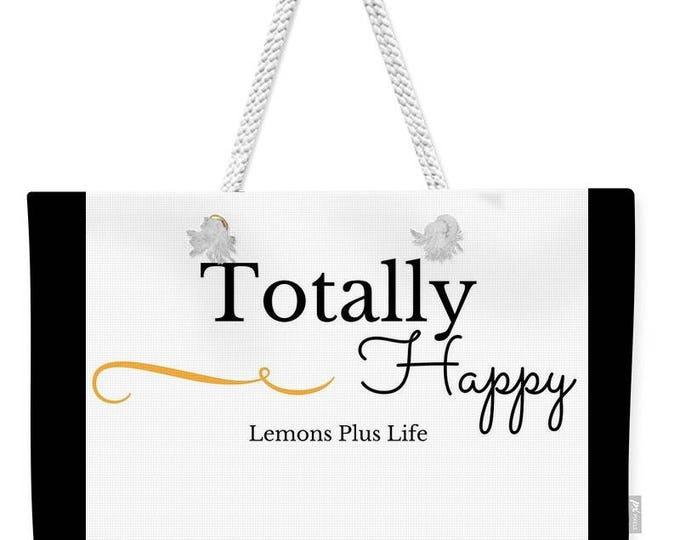 """Weekender Tote Bag """"Totally Happy"""" in black & white"""