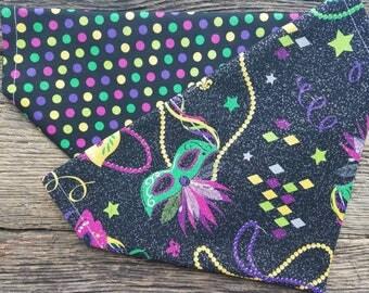 Glitter mardi gras new years dog bandana and beads reversible over the collar